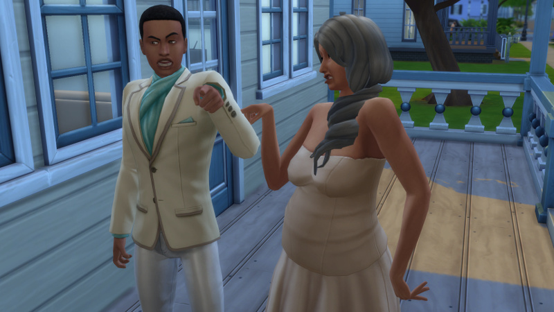 Tabitha and Amir yell and point fingers at each other