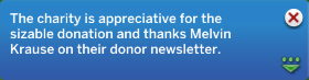 The charity is appreciative of the sizable donation and thanks Melvin Krause in their donor newsletter.