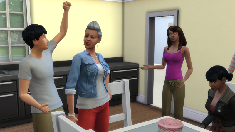 Stacey poses confidently as an elder; Julian cheers