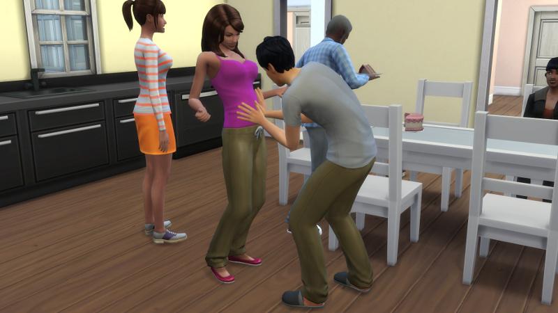 Julian feels Claire's baby bump