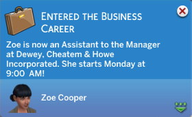 Zoe now works in Business