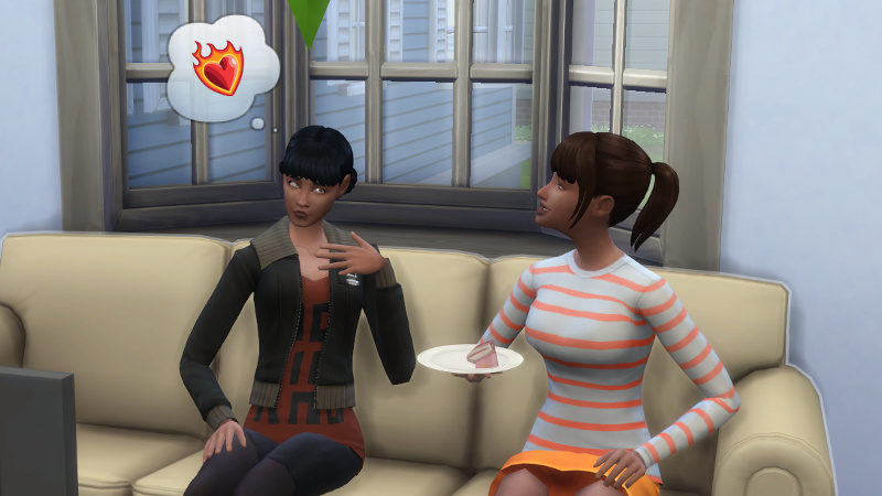 Zoe fans herself while thinking about romance; Rachel smiles as she eats cake