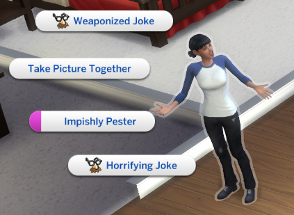 possible interactions as Stacey now include Weaponized Joke and Horrifying Joke