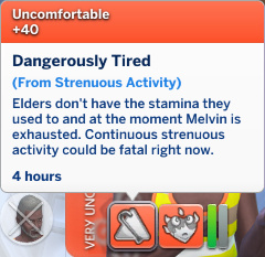 Melvin has an Uncomfortable moodlet: Dangerously Tired