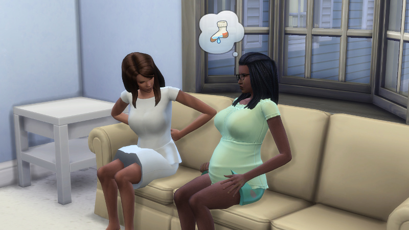 Claire and Christina both moan in discomfort while sitting on the couch