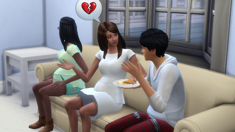 Claire tells Julian about broken hearts as he eats a grilled cheese sandwich