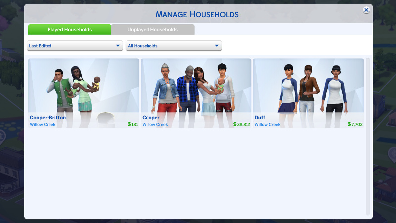 my Played Households screen, featuring Zoe and Rachel in a 'Duff' household with Kelsi Duff