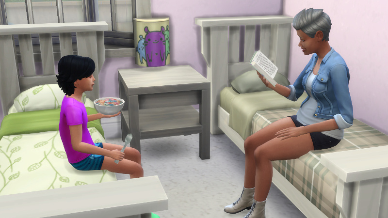 in the children's bedroom, Troy sits on a bed and eats cereal while Stacey sits on the opposite bed and reads