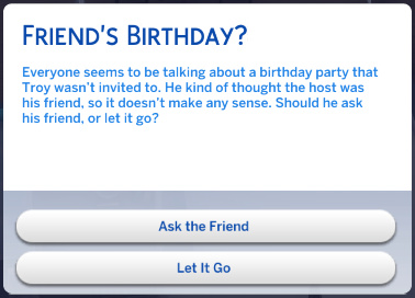 chance card involving Troy not being invited to a classmate's birthday party