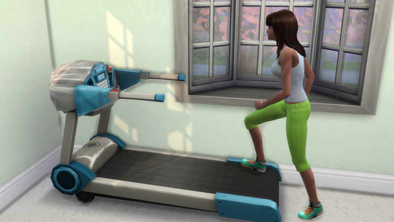 Claire steps onto her treadmill