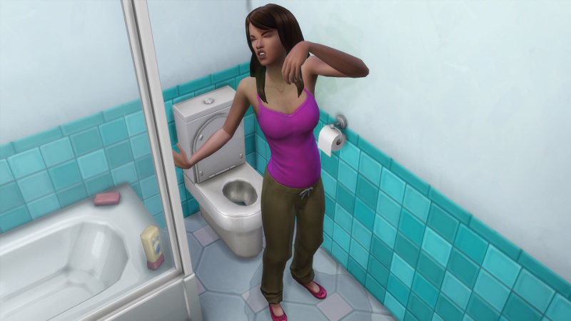 Claire stands at the toilet, covered in urine, scrunching her face up in disgust