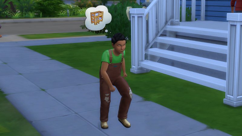 a townie child storms past, thinking about bunk beds