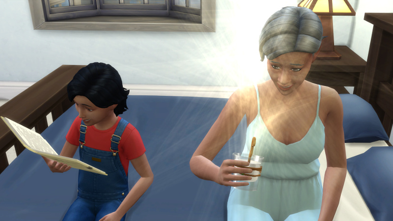 Stacey drinks a Potion of Youth as Troy reads on the bed next to her