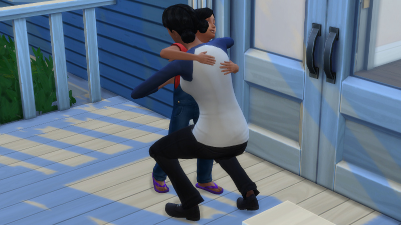 Troy and Zoe hug