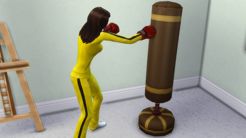 Claire works out with her punching bag