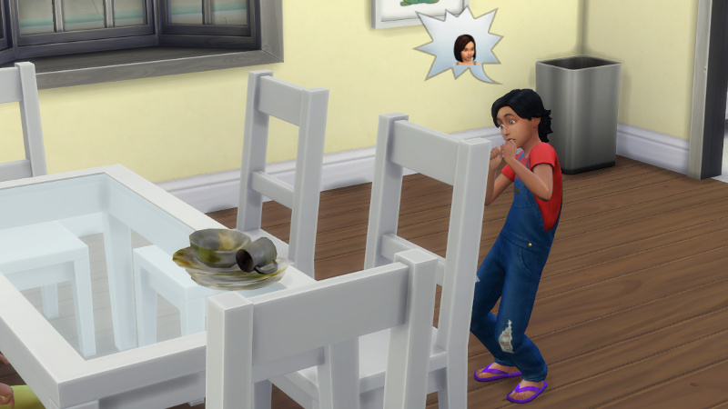 Troy freaks out about Britta while looking at a pile of dirty plates on the kitchen table