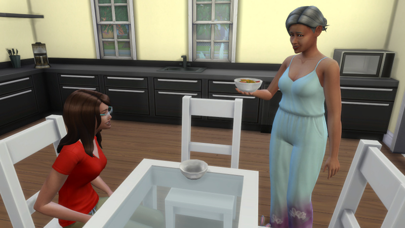 Claire sits at the dining table in front of an empty space; Stacey stands, holding a bowl of soup