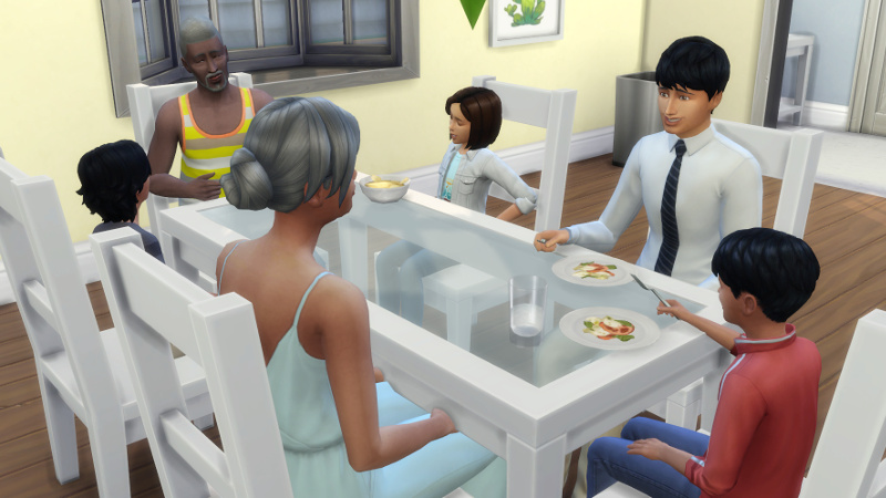 Melvin, Stacey, Julian, Troy, Abed and Britta sit around the dining table