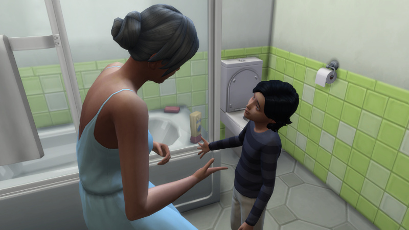Stacey talks to Troy in a bathroom