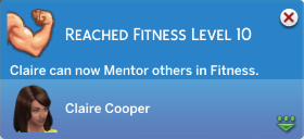 Claire has reached level 10 in Fitness!