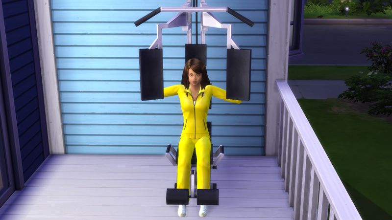 Claire works out on the back verandah in a workout machine