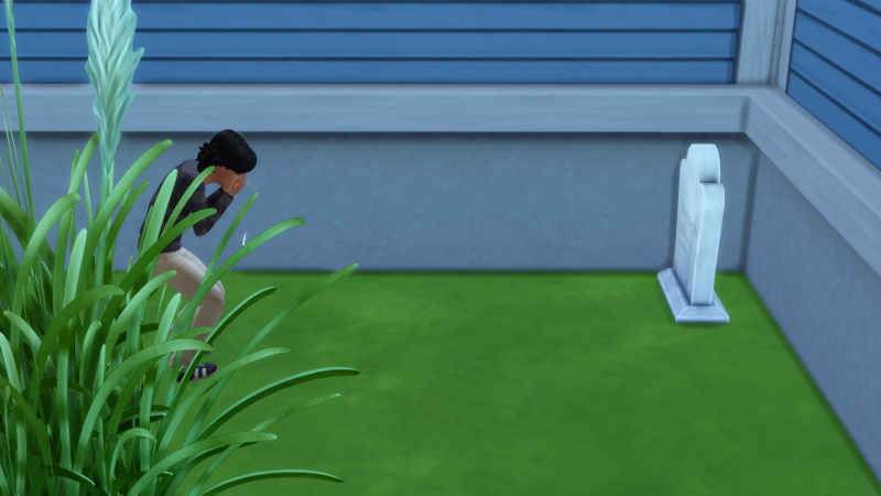 Troy cries at his grandfather's grave