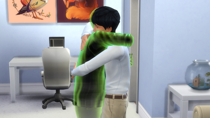Melvin's ghost and Julian hug