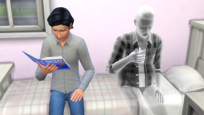 Troy grins at his homework book while Melvin's ghost sips water next to him