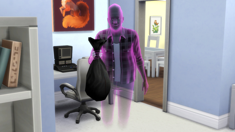 Melvin flies through the living room, holding a bag of trash