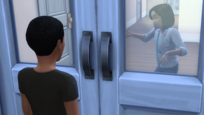 Pierce Cooper-Britton, a child, stands at the front door; Britta shrugs on the other side