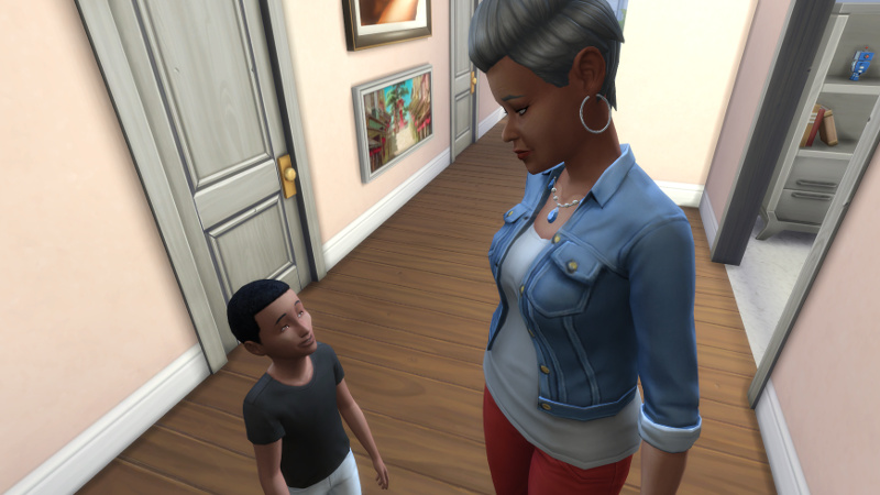 Pierce smiles up at Stacey, while she stares disapprovingly down at him