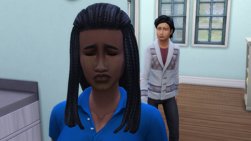 Foreground: Christina pouts; Background: Troy approaches, also looking sad