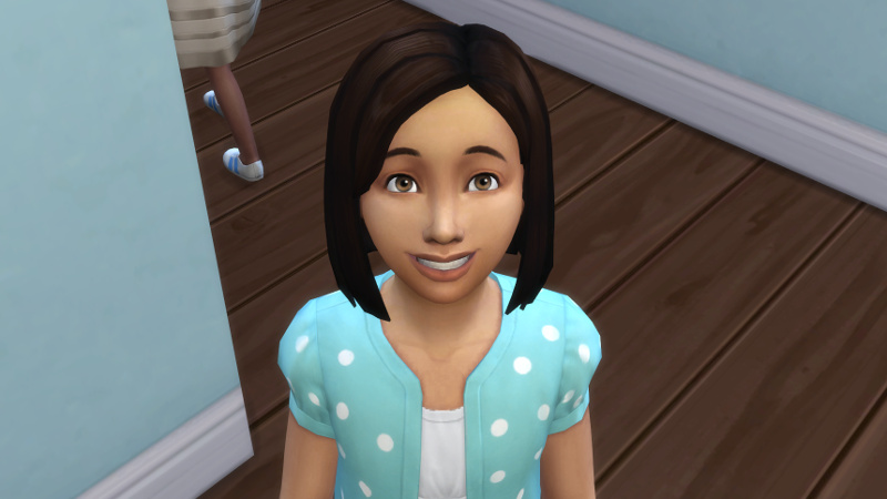 close-up of Britta's beaming face