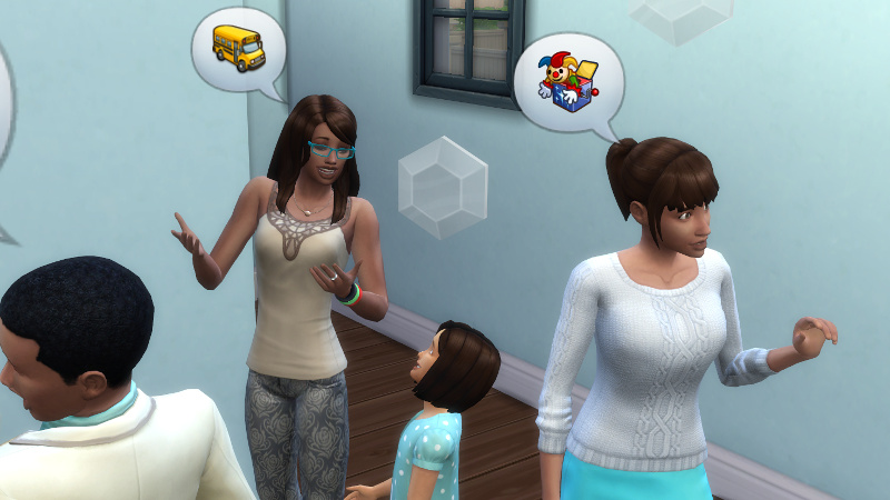 Claire tells Britta about schoolbuses, as other conversations happen around her