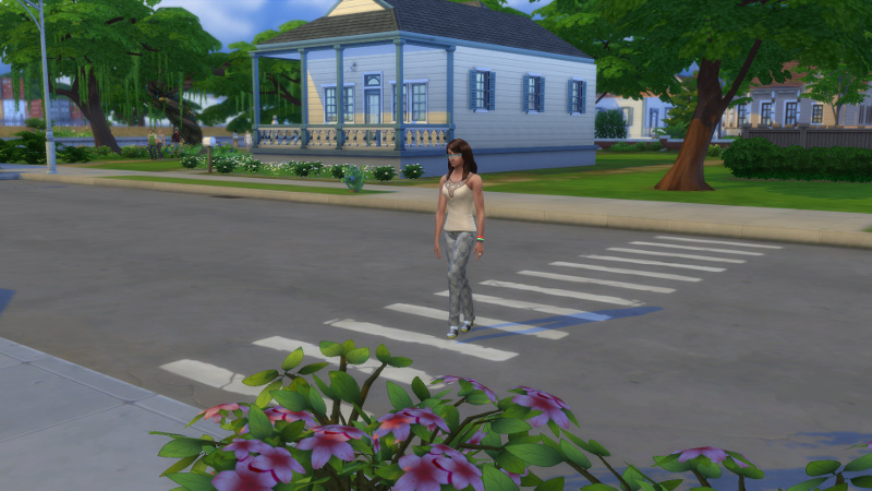 Claire crosses the road