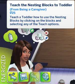 Claire has a whim to Teach Nesting Blocks to Toddler