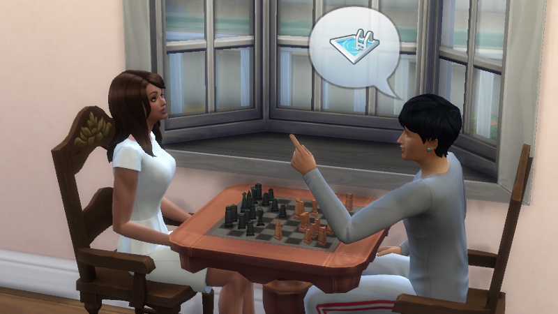 Julian tells Claire about swimming pools over a game of chess
