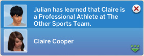 Julian has learned that Claire is a Professional Athlete at The Other Sports Team.