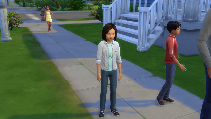foreground: Britta and Abed in front of house; background: their cousin Shirley