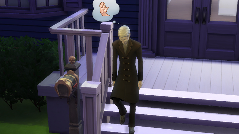 the vampire walks away from the front door, thinking about how he's been shown the hand