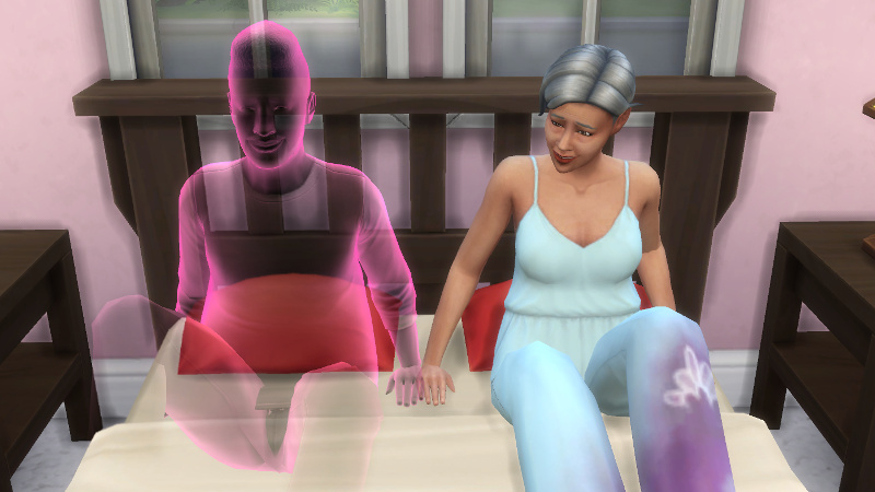 Stacey and Melvin's ghost jump into bed together