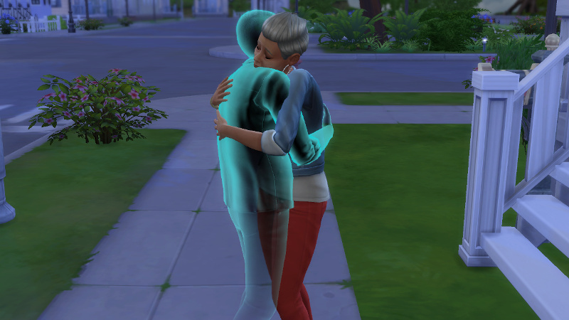 Stacey and Melvin's ghost embrace