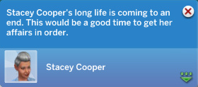 Stacey Cooper's long life is coming to an end. This would be a good time to get her affairs in order.