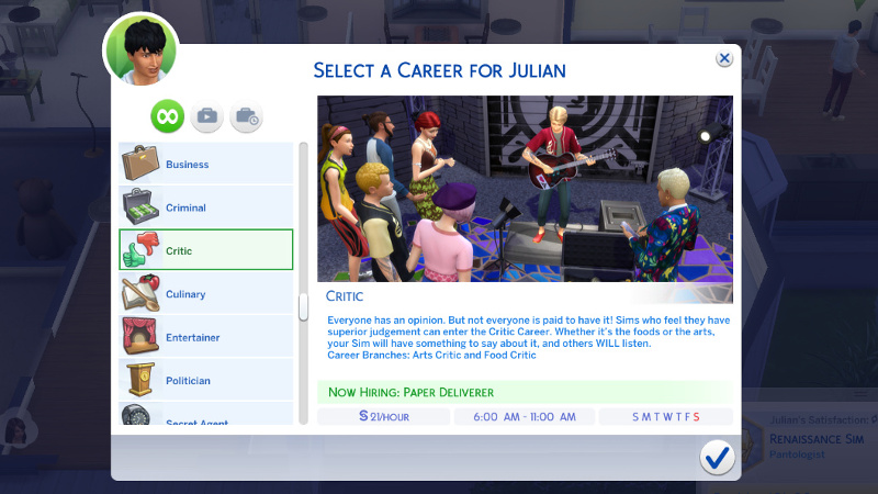 Select a career for Julian: Critic