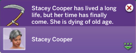Stacey Cooper has lived a long life, but her time has finally come. She is dying of old age.