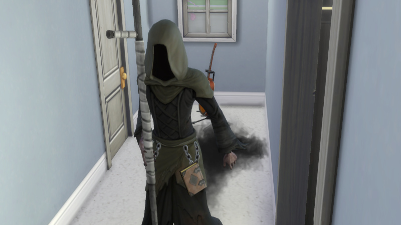 the Grim Reaper glides down the hallway