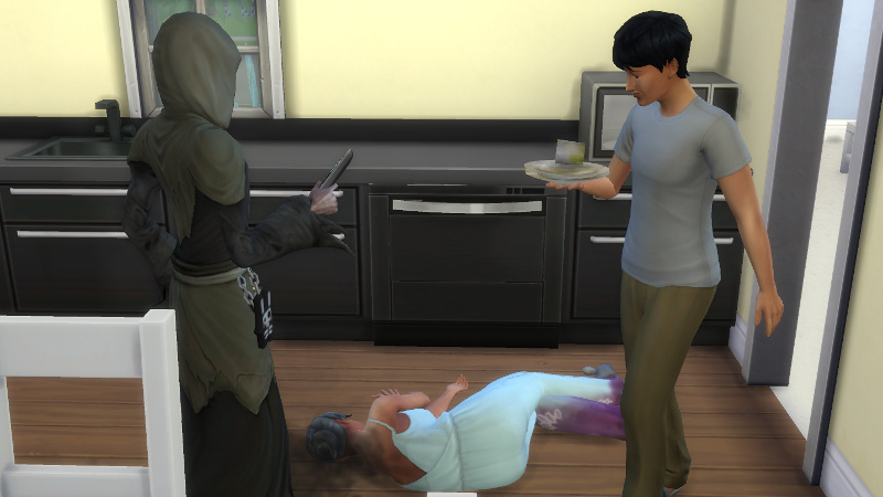 Julian walks past the Grim Reaper and Stacey's corpse, holding a stack of dirty dishes and smiling