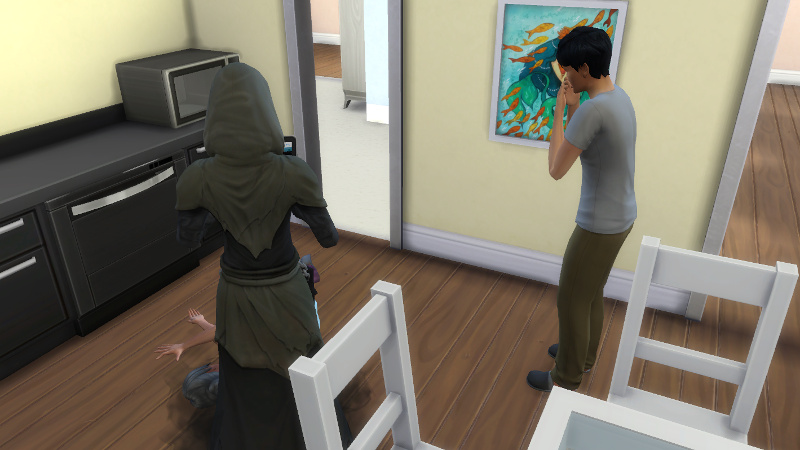 Julian cries next to the Grim Reaper and Stacey's corpse
