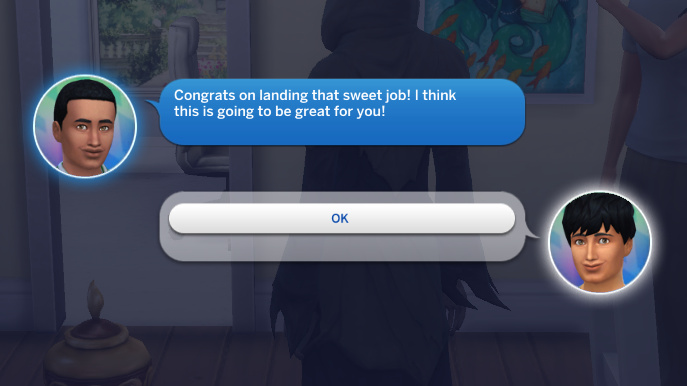 Amir texts Julian: Congrats on landing that sweet job! I think this is going to be great for you!