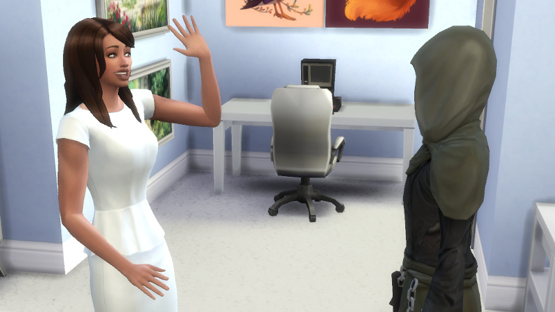 Claire waves hello at the Grim Reaper